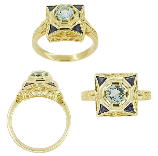 Art Deco Filigree Sapphire and Blue Topaz Ring in 14 Karat Yellow Gold - Item: RV759 - Image: 1