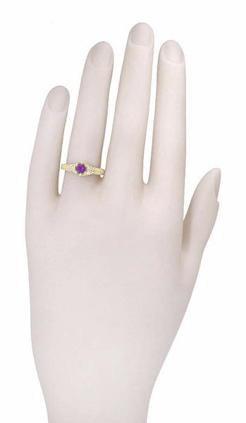 Art Deco Amethyst and Diamond Filigree Engagement Ring in 14 Karat Yellow Gold - Item: RV761 - Image: 2