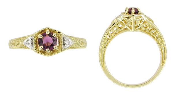 Art Deco Amethyst and Diamond Filigree Engagement Ring in 14 Karat Yellow Gold - Item: RV761 - Image: 1
