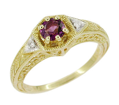 Art Deco Amethyst and Diamond Filigree Engagement Ring in 14 Karat Yellow Gold