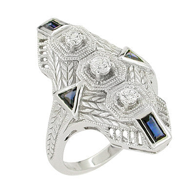 Art Deco Sapphire and Diamond Cocktail Filigree Engraved Ring in 14 Karat White Gold - Item: RV876 - Image: 1