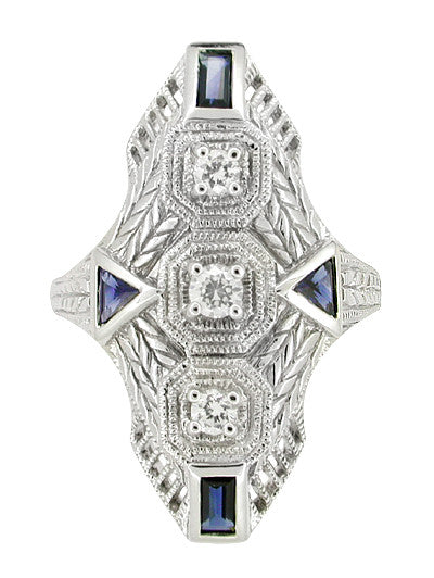 Art Deco Sapphire and Diamond Cocktail Filigree Engraved Ring in 14 Karat White Gold