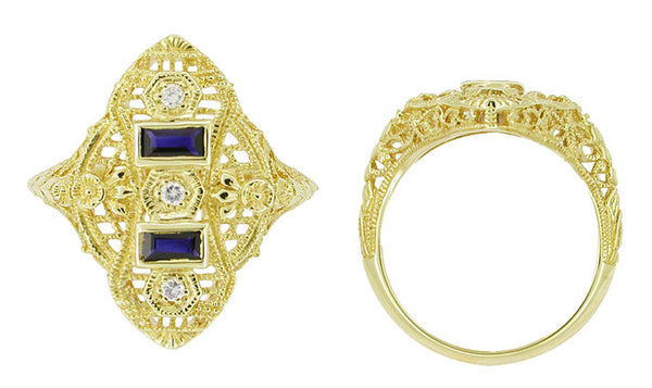 Art Deco Filigree Diamond and Sapphire Ring in 14 Karat Yellow Gold - Item: RV883 - Image: 1