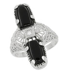 Art Deco Black Onyx and Diamond Filigree Right Hand Ring in 14 Karat White Gold