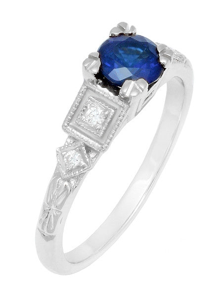 Art Deco Sapphire Engagement Ring in 18 Karat White Gold with Diamonds - Item: R194 - Image: 2
