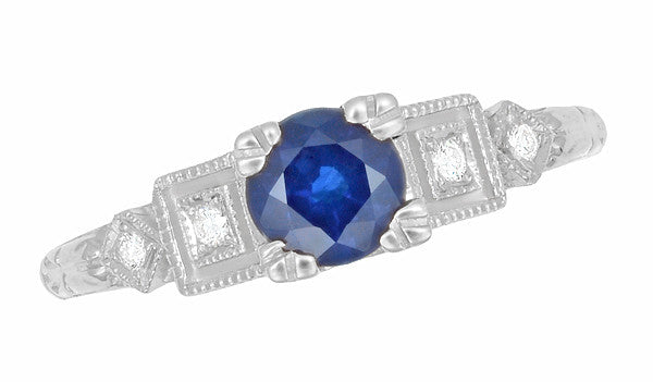Art Deco Sapphire Engagement Ring in 18 Karat White Gold with Diamonds - Item: R194 - Image: 3