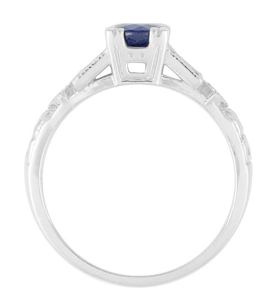 Art Deco Sapphire Engagement Ring in 18 Karat White Gold with Diamonds - Item: R194 - Image: 4