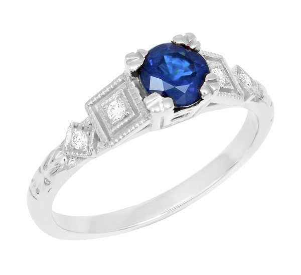 Art Deco Sapphire Engagement Ring in 18 Karat White Gold with Diamonds - Item: R194 - Image: 1