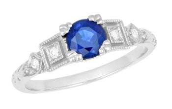 Antique 1920's Style Sapphire and Diamond Art Deco Engagement Ring in Platinum