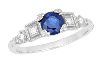Art Deco Sapphire Engagement Ring in 18 Karat White Gold with Diamonds