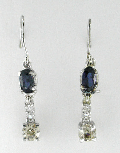 Estate Sapphire and Diamond Drop Earrings in 14 Karat White Gold