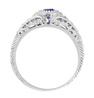 Art Deco Engraved Sapphire and Diamond Filigree Engagement Ring in 14 Karat White Gold - Item: R138 - Image: 2