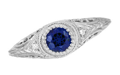 Art Deco Engraved Sapphire and Diamond Filigree Engagement Ring in 14 Karat White Gold - Item: R138 - Image: 3