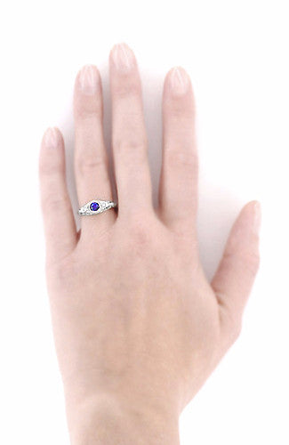 Art Deco Engraved Sapphire and Diamond Filigree Engagement Ring in 14 Karat White Gold - Item: R138 - Image: 4