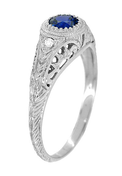 Art Deco Engraved Sapphire and Diamond Filigree Engagement Ring in 14 Karat White Gold - Item: R138 - Image: 1