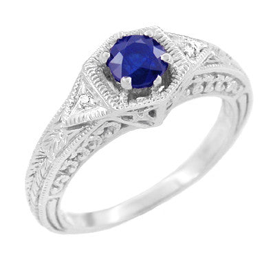Filigree Antique Sapphire and Diamond Hexagon Engagement Ring in White Gold - R149