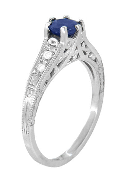 Art Deco Filigree Blue Sapphire Engagement Ring in 14 Karat White Gold with Diamond Side Stones - Item: R158 - Image: 2