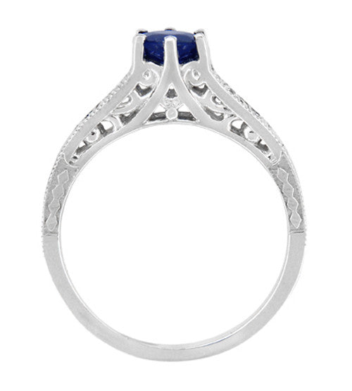 Art Deco Filigree Blue Sapphire Engagement Ring in 14 Karat White Gold with Diamond Side Stones - Item: R158 - Image: 3