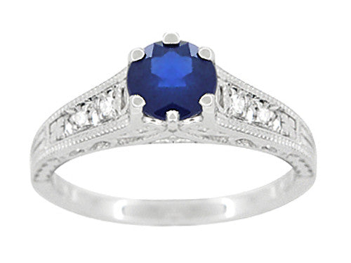 Art Deco Filigree Blue Sapphire Engagement Ring in 14 Karat White Gold with Diamond Side Stones - Item: R158 - Image: 4
