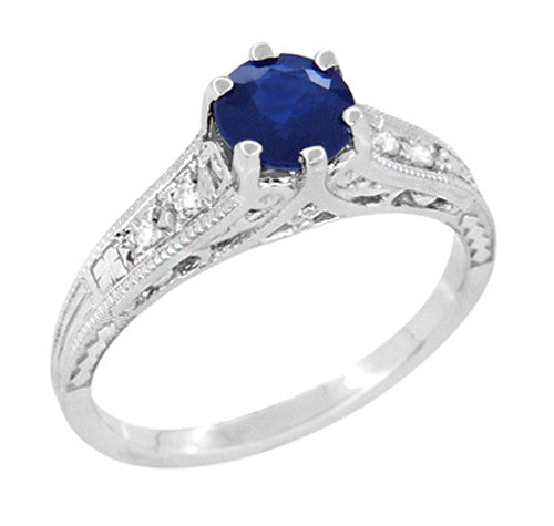 Art Deco Filigree Blue Sapphire Engagement Ring in 14 Karat White Gold with Diamond Side Stones - Item: R158 - Image: 1