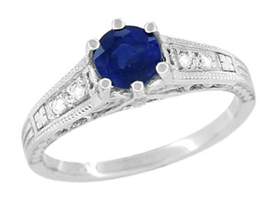 Art Deco Filigree Blue Sapphire Engagement Ring in 14 Karat White Gold with Diamond Side Stones