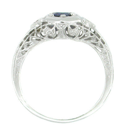 Low Set Blue Sapphire and Diamond Art Deco Filigree Ring in 14 Karat White Gold - Item: R179 - Image: 1