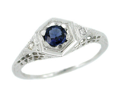 Low Set Blue Sapphire and Diamond Art Deco Filigree Ring in 14 Karat White Gold
