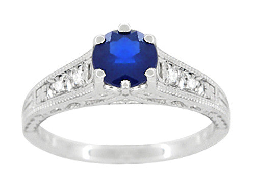 Sapphire and Diamond Filigree Art Deco Engagement Ring in Platinum - Item: R158P - Image: 4