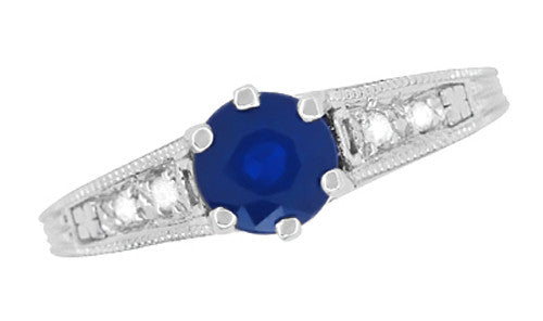 Sapphire and Diamond Filigree Art Deco Engagement Ring in Platinum - Item: R158P - Image: 5