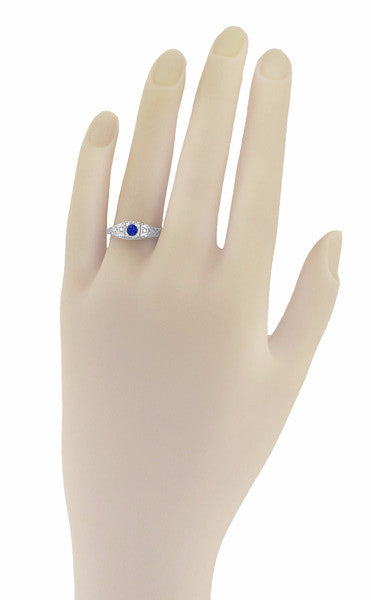 Art Deco Sapphire Filigree Engagement Ring with Side Diamonds  in 14 Karat White Gold - Item: R228 - Image: 2