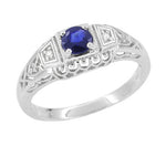 Art Deco Sapphire Filigree Engagement Ring with Side Diamonds  in 14 Karat White Gold