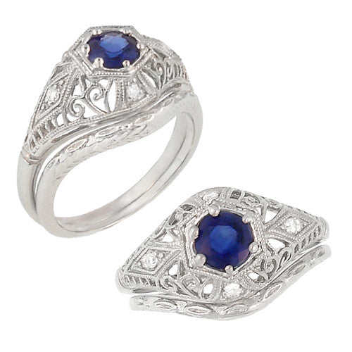 Blue Sapphire and Diamonds Scroll Dome Edwardian Filigree Engagement Ring in 14 Karat White Gold | 1910 Vintage Design - Item: R234 - Image: 2
