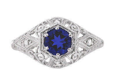Blue Sapphire and Diamonds Scroll Dome Edwardian Filigree Engagement Ring in 14 Karat White Gold | 1910 Vintage Design - Item: R234 - Image: 1