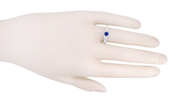 Art Deco Platinum Vintage Engraved Filigree Engagement Ring with Sapphire and Diamonds - Item: R149P - Image: 2