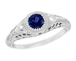 Art Deco Engraved Sapphire and Diamond Filigree Engagement Ring in 14 Karat White Gold