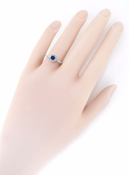 Hexagon Art Deco Filigree Blue Sapphire Engagement Ring in 14 Karat White Gold - Item: R257 - Image: 2