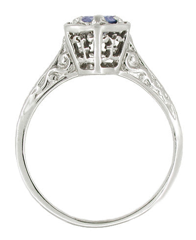 Hexagon Art Deco Filigree Blue Sapphire Engagement Ring in 14 Karat White Gold - Item: R257 - Image: 1