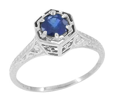 Hexagon Art Deco Filigree Blue Sapphire Engagement Ring in 14 Karat White Gold
