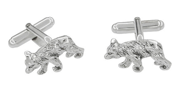 Bear Cufflinks in Sterling Silver