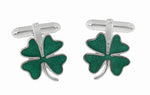 Lucky Four Leaf Clover Green Shamrock Enameled Cufflinks in 925 Solid Sterling Silver