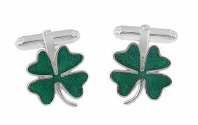 Lucky Four Leaf Clover Shamrock Enameled Cufflinks - Solid Sterling Silver
