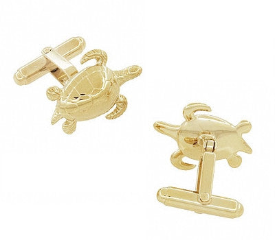 Sea Turtle Cufflinks in Sterling Silver with Yellow Gold Finish - Item: SCL133Y - Image: 1