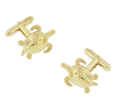 Sea Turtle Cufflinks in Sterling Silver with Yellow Gold Finish