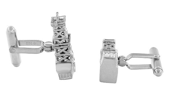 Oil Rig Cufflinks in Sterling Silver - Oil Derricks - Item: SCL136W - Image: 1