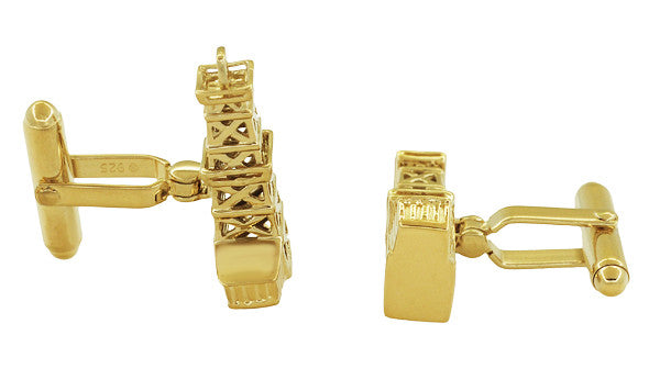 Oil Derrick Cufflinks in Sterling Silver with Yellow Gold Vermeil - Item: SCL136Y - Image: 1