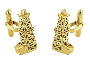 Oil Derrick Cufflinks in Sterling Silver with Yellow Gold Vermeil