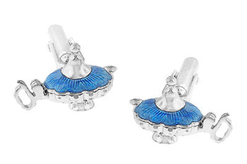 Magic Genie Lamp Movable Cufflinks in Sterling Silver with Blue Enamel