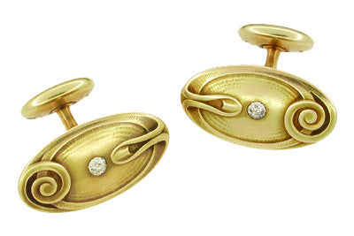 Antique Art Nouveau Diamond Set Cufflinks in 14 Karat Gold