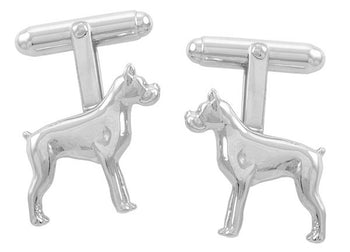 Boxer Dog Cufflinks in Sterling Silver
