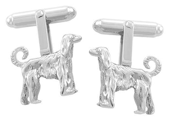 Afghan Dog Cufflinks in Sterling Silver - Afghan Hound Cuff Links